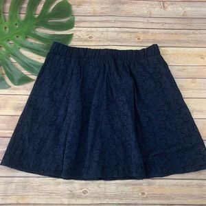The Webster navy blue eyelet skirt with pockets